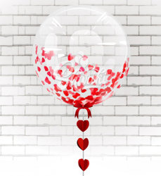 "Шар BUBBLE ""Красные сердца"""