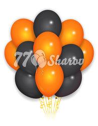 """Облако из шаров """"Оранжевый и черный"""", 36 см"""
