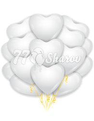 "Облако шаров ""Сердца"" Белые 16""/41 см"