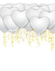 """Шары под потолок """"Сердца"""" Белые, 41 см"""