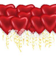 """Шары под потолок """"Сердца"""" Красные, Фольга, 46 см"""