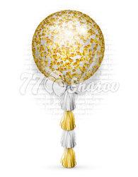 Шар большой с конфетти золото+бел, на тасселгирлянда