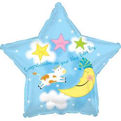 """Шар-звезда """"С рождением"""" для мальчика"""