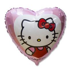 """Шар-сердце """"Hello Kitty в сердце розовом"""" 18"""""""