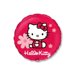 "Шар-круг ""Hello Kitty в цветочках"" 18"""