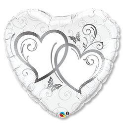 """Шар-сердце """"Сердца переплетенные Silver"""" 36"""""""