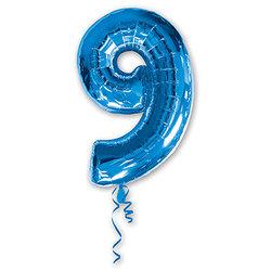 """Шар-цифра """"9"""", синий"""