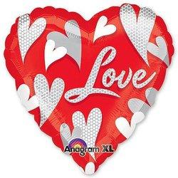 """Шар-сердце """"Love Водоворот сердец"""" 46 см"""