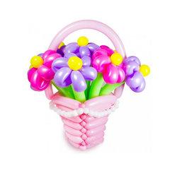 """Цветы из шариков """"Корзина розовая с цветами"""""""
