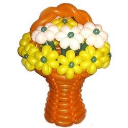 """Цветы из шариков """"Корзина с цветами ромашки желто-белые"""""""