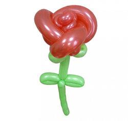 """Цветы из шариков """"Роза с листиками"""""""